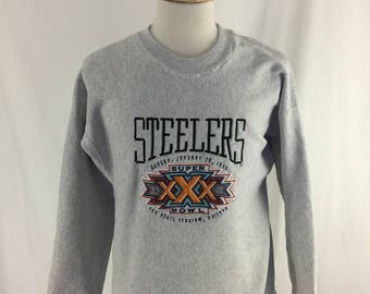 Vintage 90s Pittsburgh Steelers Super Bowl XXX 1996 Embroidered Crew Neck Check measurements