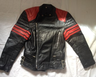 Biker Leather Motorcycle Racer Jacket Small Size EU 48 US 38 ~ Made in Belgium