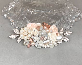 Rose Gold Bridal Comb- Rose Gold Hairpiece-Bridal Hair Accessory-Blush Bridal Hairpiece-Wedding Hair Comb- Rose Gold Hair Comb- Brass Boheme