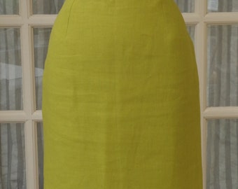 Rodier Green Linen Pencil Skirt Size Fr42 UK12/14 US10 Vintage
