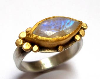Moonstone ring - Gold ring - Statement gold ring - Engagement ring - silver ring - 24 k gold ring - free shipping!!!