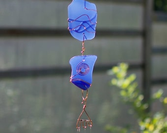 Cobalt Blue Sea Glass Handcrafted Outdoor Wind Chime