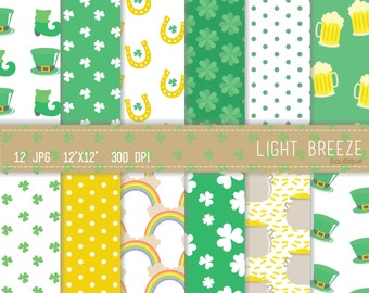 St. Patrick's Day Digital Paper Set - Instant Download - Personal and Commercial Use