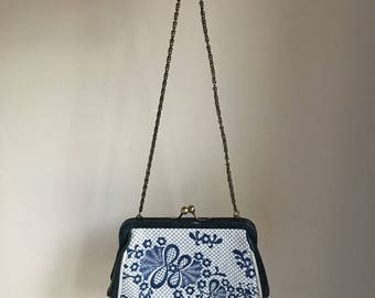 90s Vintage Isabella Fiore Leather Embroidered Mini Purse • Bohemian Bag