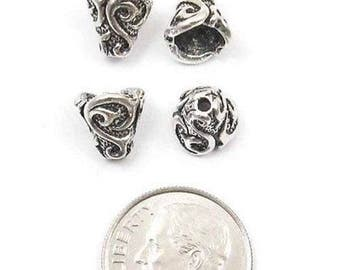 TierraCast Pewter Bead Bell Caps-Antique Silver Lily Cone (4)