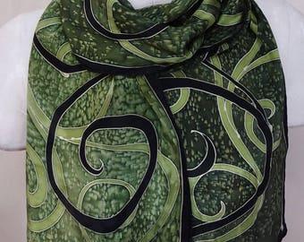 Green Spirals - Hand Painted Silk Scarf - wearable art - medium scarf 11x60 inches