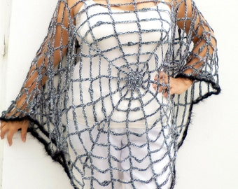 One Size Halloween Spider  Web Poncho Halloween Costume Gothic Grunge Hippie Plus Size Women's Clothing