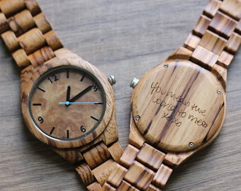 Mens Wooden Watch, Wood Watch, Groomsmen Watches for Husband, Engraved Mens Watch, Gifts for Groom, 5th Anniversary, Wedding Party Gifts