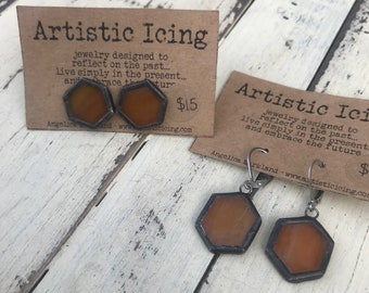 Stained Glass honeycomb post or dangle Earrings