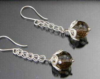 Smoky Quartz Earrings, Acorn Earrings, Long Dangling Earrings, Smoky Topaz, Acorn Jewelry, Oak Jewelry, Sterling Silver Earrings