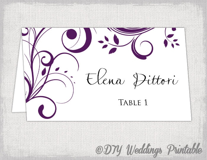 Place Card Template Eggplant Scroll Name Cards DIY - Wedding place card templates free download