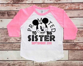 Big Sister Shirt, Baby Announcement, Big Sister, Pregnancy Gift, Baby Shower Gift, Promoted to Big Sister Shirt, Disney Family Shirts