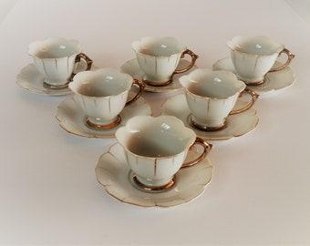 Demitasse Cups and Saucers - 12 Piece Vintage Set