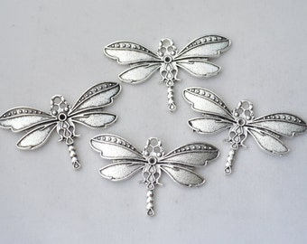 4 Pcs Dragonfly Charms Antique Silver Tone 27x44mm - YD1530
