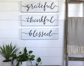 "living room decor | grateful, thankful, blessed signs| farmhouse  decor | farmhouse wall decor | wood sign | rustic wall decor | 24""x 7.25"""