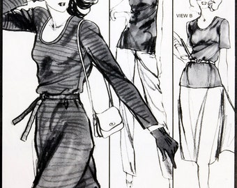 Basic Dress pattern Stretch & Sew 1505, UNCUT, Bust  30 - 44 inches, Blouse, Set in Sleeves, 3 sleeve lengths, Knit fabric, Low oval neck