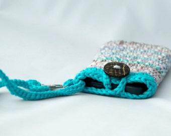 Turquoise Wristlet - Phone Cozy with Removable Wrist Strap - Gift for Teenager - iPhone 5 Pouch - Cotton Wristlet