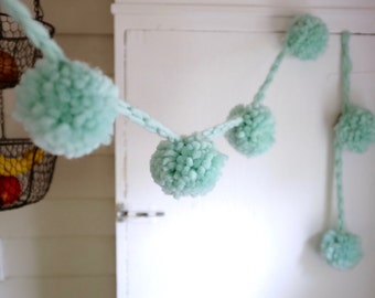 Mint Wool Pom Pom Garland | Super Bulky | Large