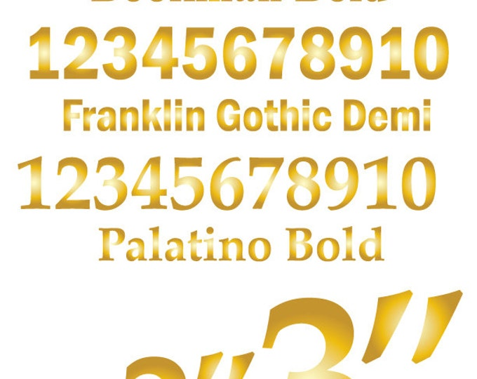 Custom Number Stickers | Table Numbers | Custom Stickers in Gold or Silver | Numbers 1-10 Serif or San Serif