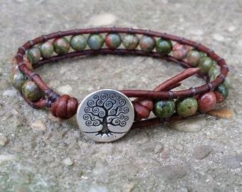 LATE SHIP single leather wrap bracelet Unakite celtic bracelet tree of life button