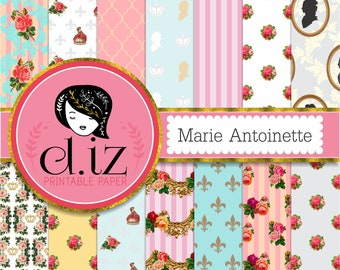 Marie Antoinette digital paper 'Marie Antoinette' cameo french backgrounds, paris digital paper x 14