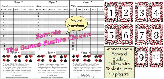 Euchre Tallies Winner Moves Forward Rotation Printable Score