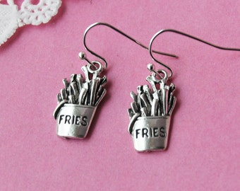 Silver French Fries Earrings