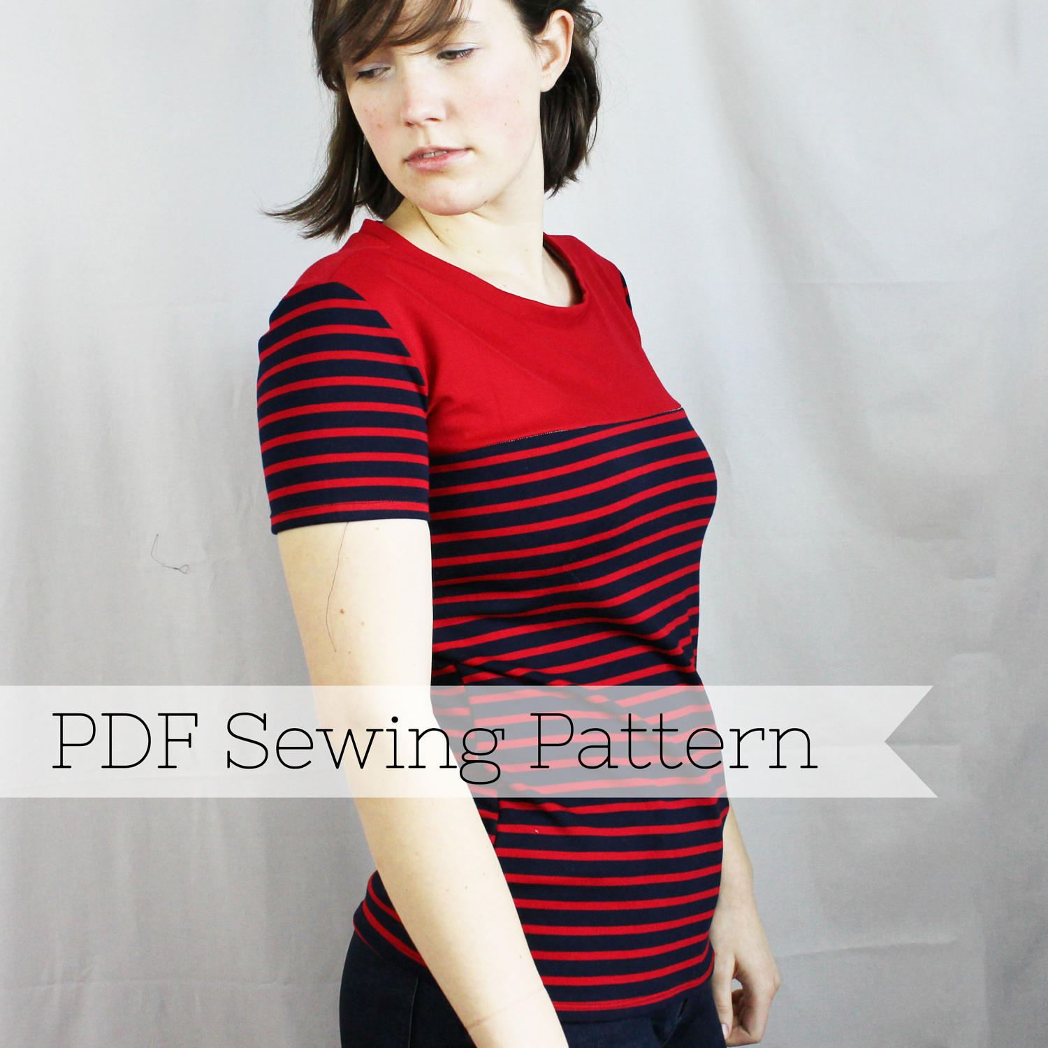 Short Sleeve Knit Yoke Tee PDF Sewing Pattern - Top, Shirt, T-Shirt ...