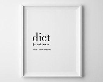 Funny Kitchen Prints, Diet Definition Print, Printable Kitchen Art, Kitchen Wall Decor, Funny Prints, Funny Printables, Prints For Kitchen