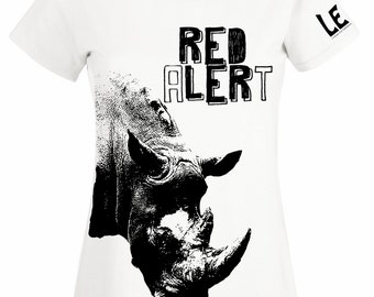 Rhinoceros tshirt, rhino t shirt. Black and white proceeds to charity tee. Animal lover gift. African safari political tees for women, girls