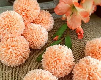Peach Pom Pom Garland Yarn Pom Pom Garland - Baby, Nusery Decor, Bridal Shower Garland, Birthday, Wedding, Pom Pom Decoration  6 Ft.