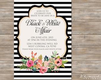 Black and White Bridal Shower Invite