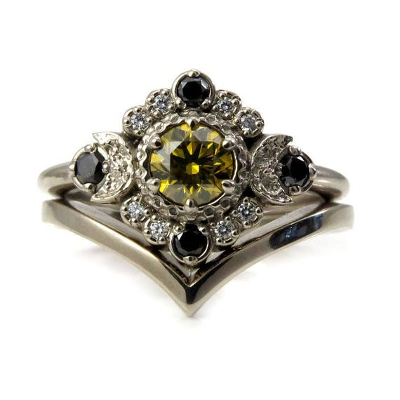 Diamond Moon Engagement Ring with Chevron Wedding Band - Irradiated Yellow Diamond with a Black and White Diamond Halo