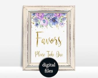 Floral Favors Sign Printable Purple Succulent Wedding Sign, Wedding Favors Sign, Bridal or baby Shower Favors Sign, wedding decor 5x7in