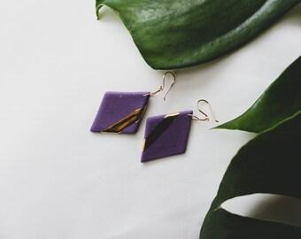 Ceramic Earrings | Diamond Earrings | Purple Earrings