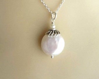 White coin pearl sterling silver necklace