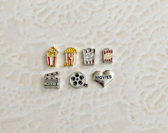 Movies and popcorn floating charm