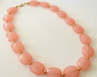 Coral and Gold Chunky Statement Necklace