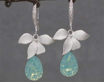 Orchid flower Earrings  Mint Wedding Earrings, Crystal Drop Earrings,Mint Green Bridesmaid Jewelry,Green Opal Earrings for Brides