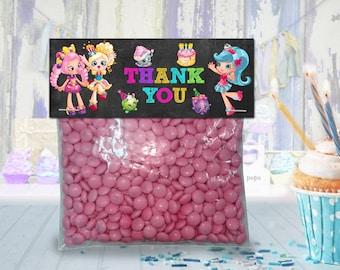 Shopkins Chalkboard favor bag toppers, treat bag topper, party favor, candy bag topper, gift bag topper - PRINTABLE INSTANT DOWNLOAD