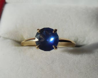 Blue Sapphire 14k Gold Ring | 1.3 Blue sapphire ring | Sapphire ring | Sapphire jewelry | Sapphire jewelry | 14k Gold ring | Solid Gold Ring