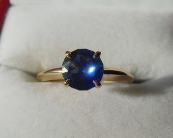 Blauer Saphir 14k Gold Ring | 1.3 blauen Saphir-Ring | Saphir-Ring | Saphir Schmuck | Saphir Schmuck | 14k Goldring | Solid Gold Ring