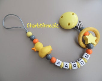Pacifier clip personalized little yellow duck