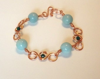 Bracelet - Copper Wire with Amazonite and Swarovski Crystals