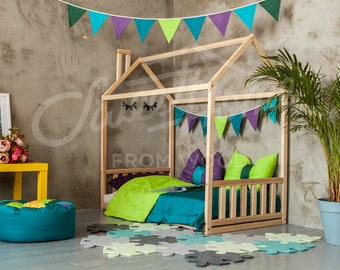 Wood house Baby bed Floor bed Frame bed Toddler bed house bed Children bed Kid nursery crib Montessori furniture Home design SLATS