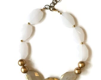Statement Necklace - White and Gold Necklace - Gold Statement Necklace
