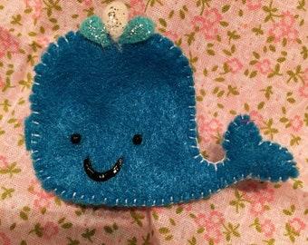 Whale hair clip  - dark blue (big)