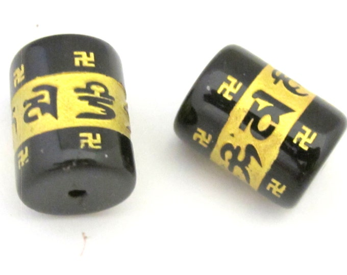 2 BEADS - Tibetan om mantra etched in gold color black color agate beads - BD734