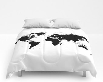 World Map Comforter, Decorative bedding, World Map Bedding, bedroom blanket, White Black Bedding, Modern Bedding, Chalkboard Black Bedding