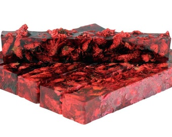 Cast Pen Blanks - Potpourri Grade Botanical Chrysanthemum Flowers In Red Resin